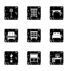 Home furnishings icons set grunge style vector