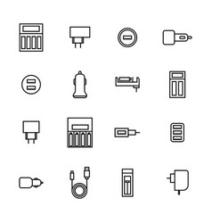 icons of chargers from thin lines vector image