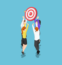 isometric business team holding target with arrow vector image