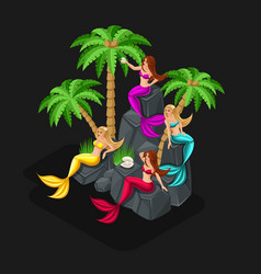 isometrics game concept cartoon with fairy-tale ch vector image