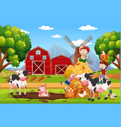 Kids and animals at farmland vector