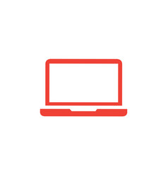 laptop red icon on white background red flat vector image
