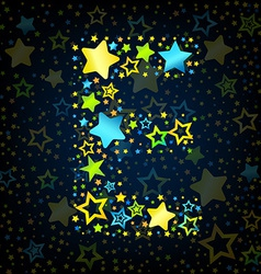 Letter E cartoon star colored vector image