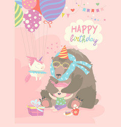 little girl celebrating birthday with bear vector image