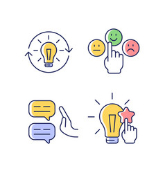 Logical and rational thinking rgb color icons set vector