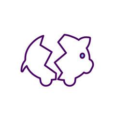 Losing money in savings account rgb color icon vector