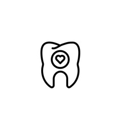 love dental care hearth tooth icon in black vector image