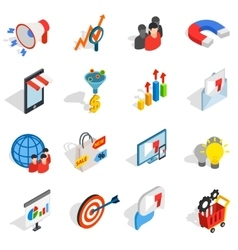 Marketing icons set isometric 3d style vector