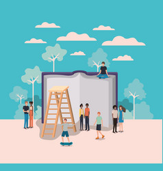 mini people working in text book vector image