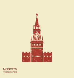 moscow kremlin icon in flat style with scuffing vector image