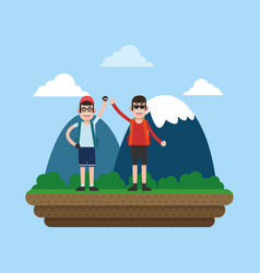 mountaineering sport cartoon vector image