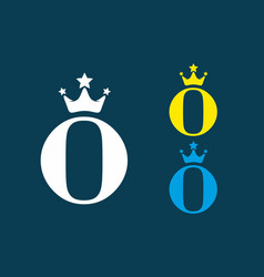 o initial letter with crown logo vector image