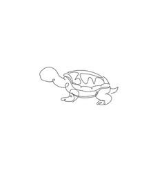 One single line drawing big cute tortoise vector