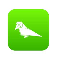 origami bird icon green vector image