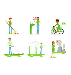 people taking part in environmental protection set vector image