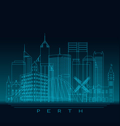 Perth skyline detailed silhouette vector