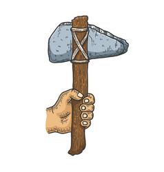 Primitive stone ax sketch vector