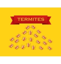 Red colony of termites flat style vector