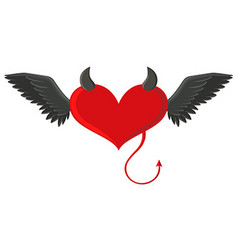 Red heart with devil horns and tail vector image