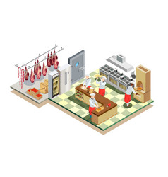 Restaurant kitchen isometric composition vector