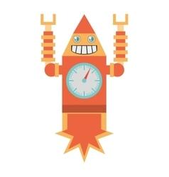 Robot clock laungh rocket smile vector