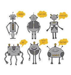 robots set bots say artificial intelligence vector image