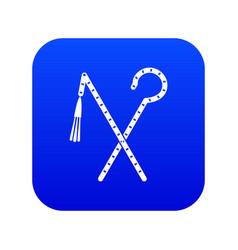 Rod and whip pharaoh icon digital blue vector