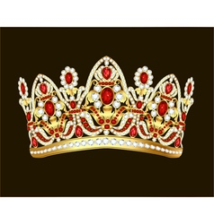 Royal jewelry shiny gold crown with gems vector
