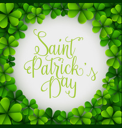saint patricks day background with round clover le vector image