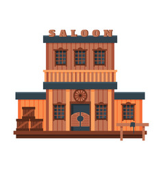 saloon wild west wooden building architectural vector image