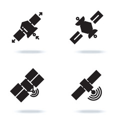Satellite and orbit communication icons isolated vector
