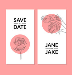 save date wedding invitation card template vector image