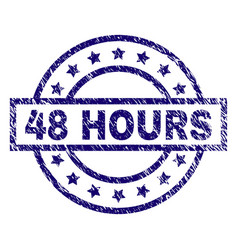 Scratched textured 48 hours stamp seal vector