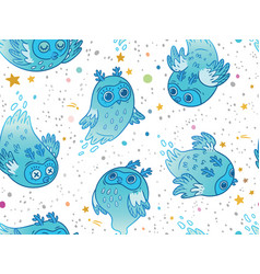Seamless pattern of cute ghost owls in the vector
