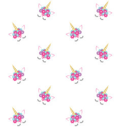 Seamless pattern unicorn face vector