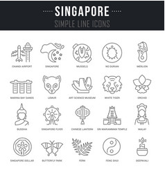 Set line icons singapore vector