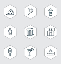 Set of 9 food icons includes closed placard vector