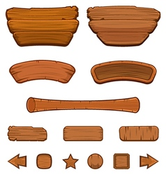 Set of cartoon wooden buttons vector