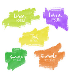 Set of five colorful paint brush stroke banners vector
