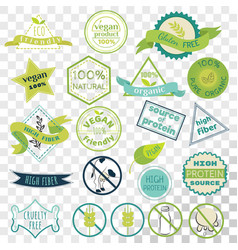 set of labels for vegans gluten free and diary vector image