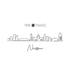 Single continuous line drawing nassau skyline vector