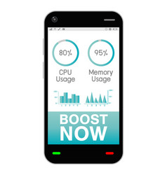 smartphone with task manage boost application vector image