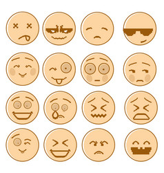 Smiling cartoon face set negative and positive vector