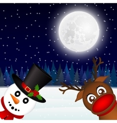 Snowman and Reindeer looking in the woods vector