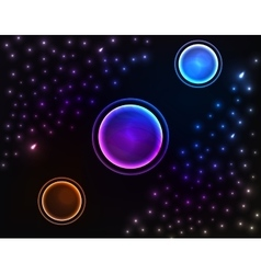 Space background with three planet vector image