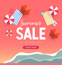 summer sale tropical beach top view banner vector image