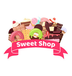 sweet shop with badge banner vector image