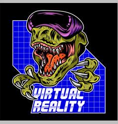 t rex dinosaur gamer play virtual arcade vector image