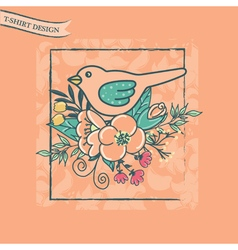 T shirt design with bird and flowers pink vector