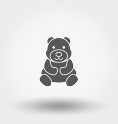 teddy bear toy icon silhouette flat vector image